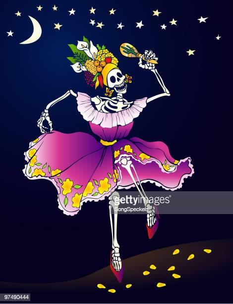 day of the dead _ dancing skeleton - maracas stock illustrations