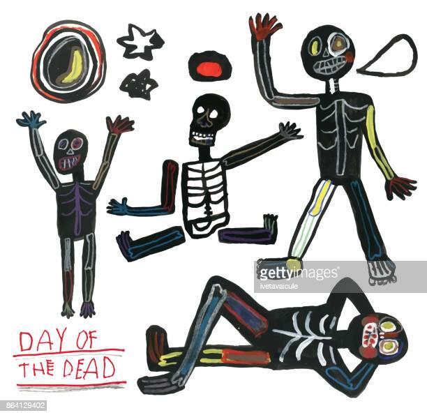 Día de la mano del muerto dibujado juego de esqueletos, Luna, estrellas y velas