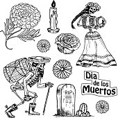 Day of the dead. Mexican national holiday with the original inscription in Spanish Dia de los Muertos. Skeletons with flowers in costumes with barrel of tequila, playing, dancing to the music