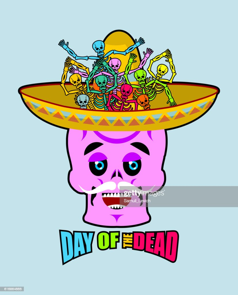 Day of the Dead skeletons and sombrero. Multi-colored skull : Vector Art