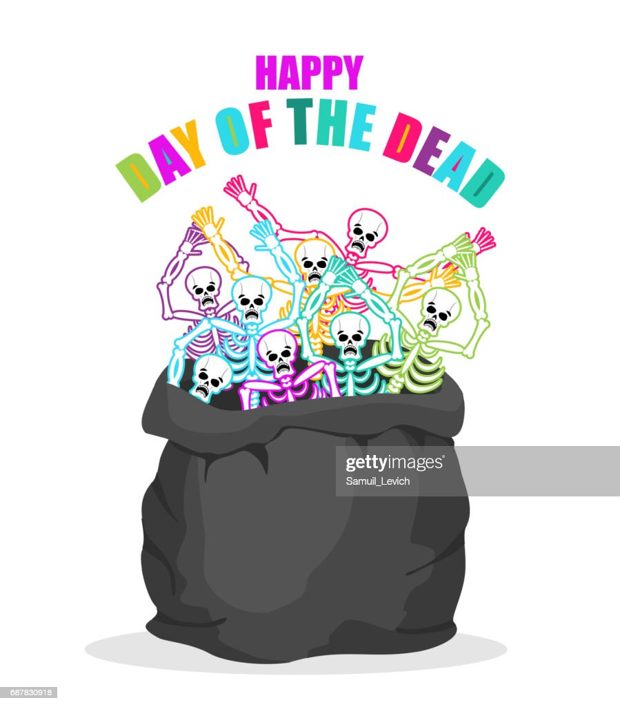 Day of the Dead. Skeletons in sack. Multicolored skull in bag. national holiday in Mexico. Mexican terrible feast