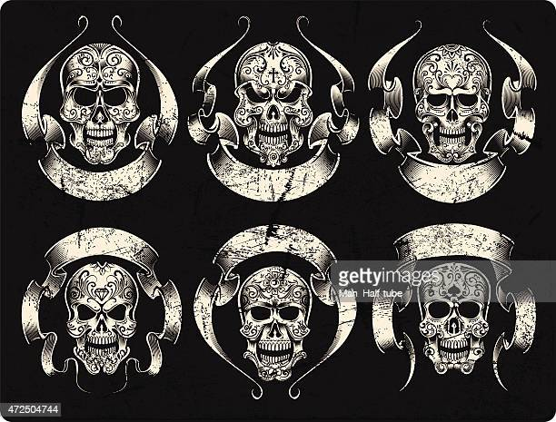 day of the dead skull set - motorcycle rider stock illustrations, clip art, cartoons, & icons