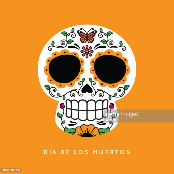 day of the dead skull with monarch butterfly - skull stock illustrations, clip art, cartoons, & icons