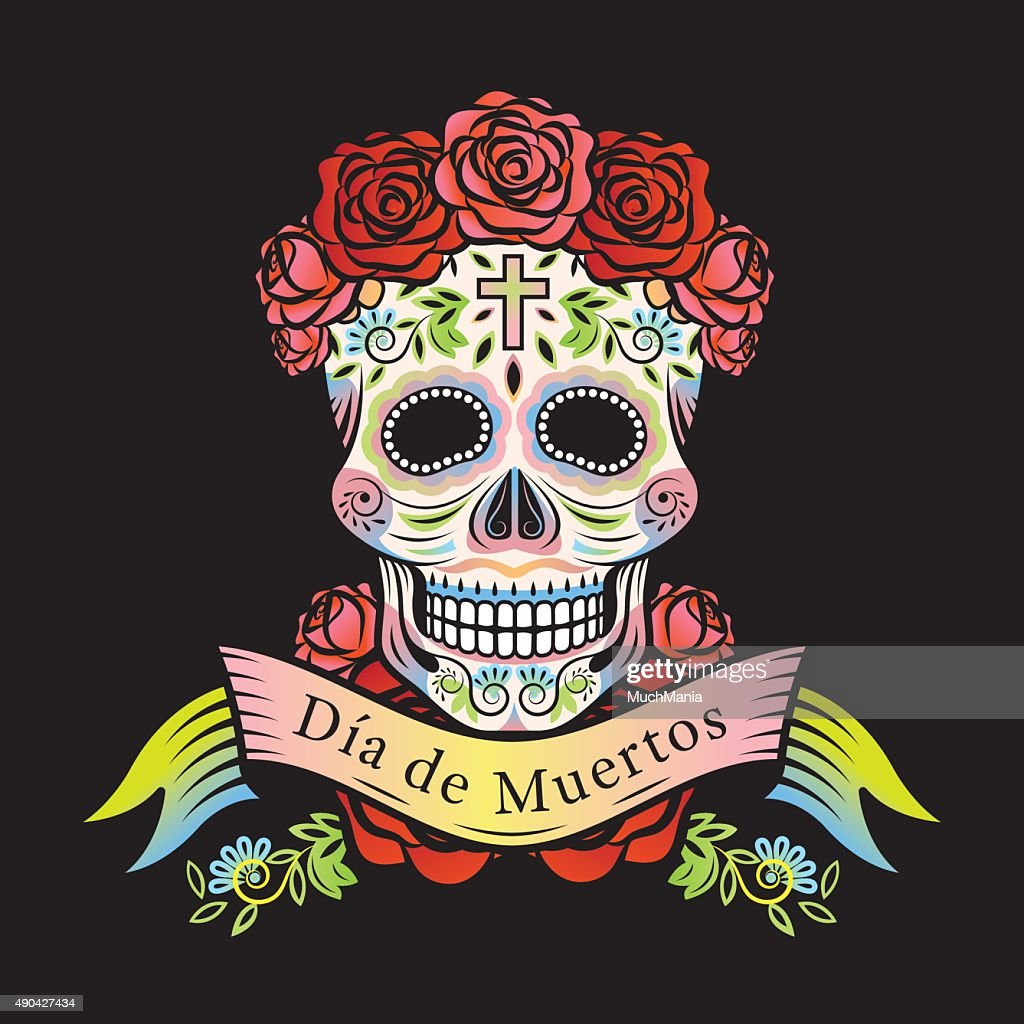Day of the Dead Skull with Roses and Label
