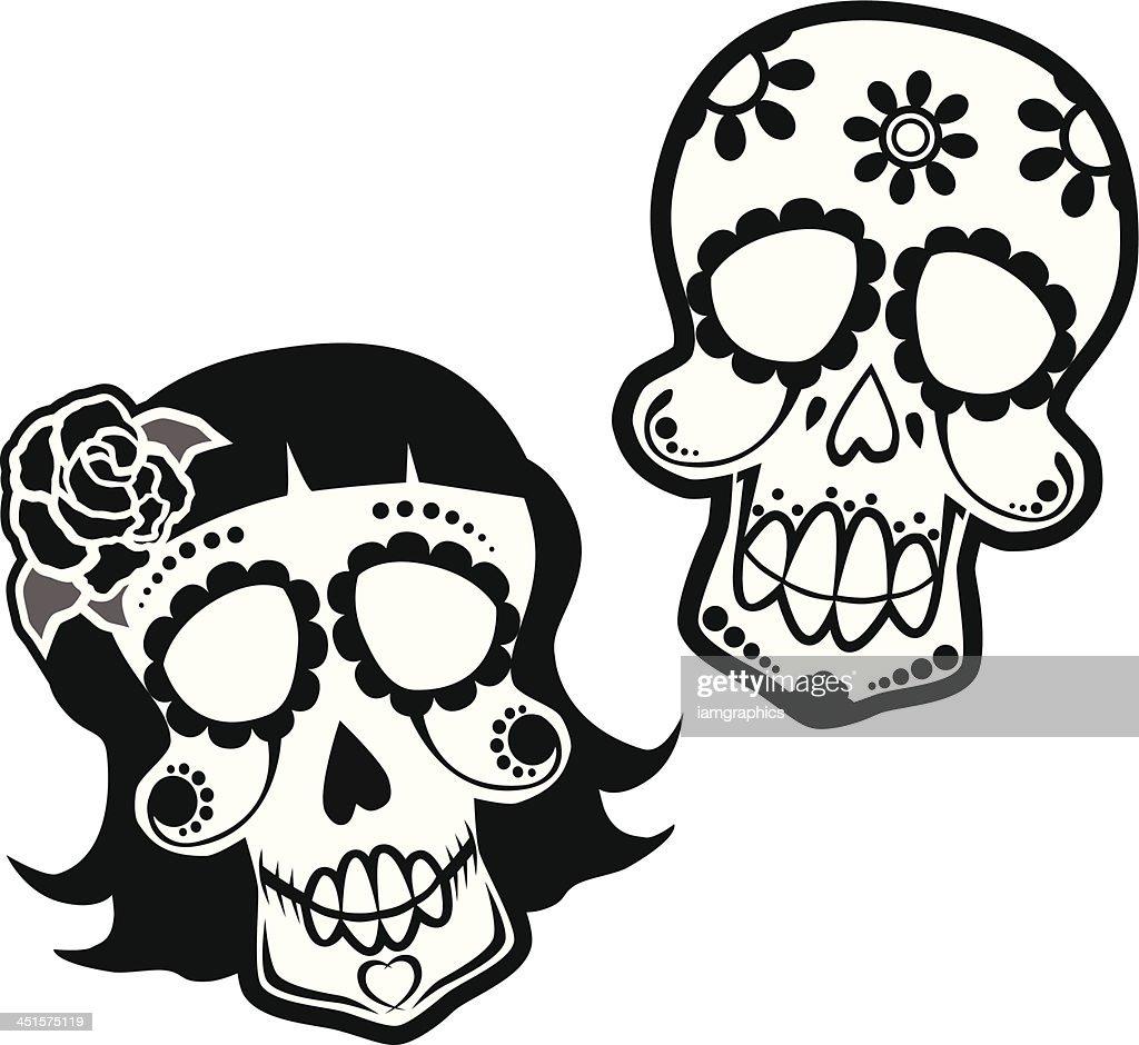 Day of the Dead Skulls : stock illustration