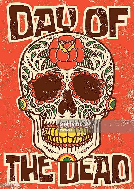 Day of the Dead Sugar Skull Screen Printed Poster Design