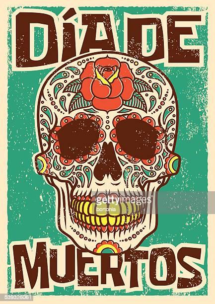 ilustraciones, imágenes clip art, dibujos animados e iconos de stock de día del azúcar cráneo muerto diseño serigrafiado para presentación - dia de muertos