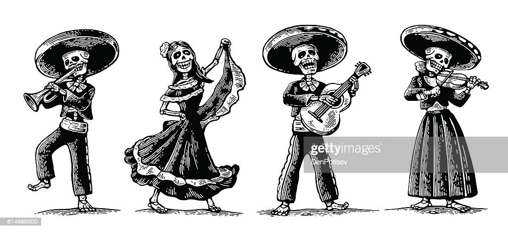 Day of the Dead. The skeleton in Mexican national costumes