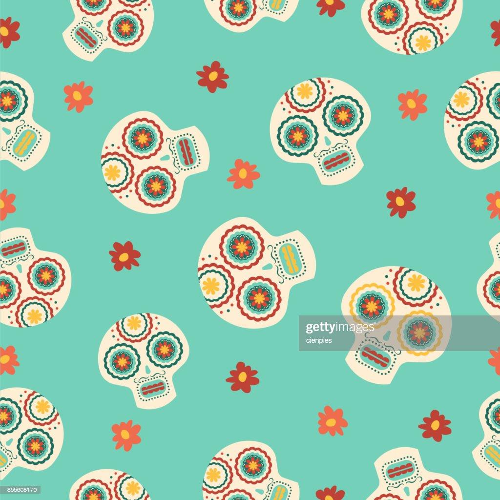 Day Of The Dead Traditional Sugar Skull Pattern Vector Art