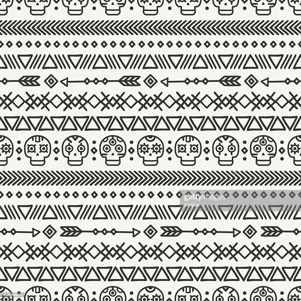 Day of the Dead. Tribal mexican ethnic seamless pattern. Aztec