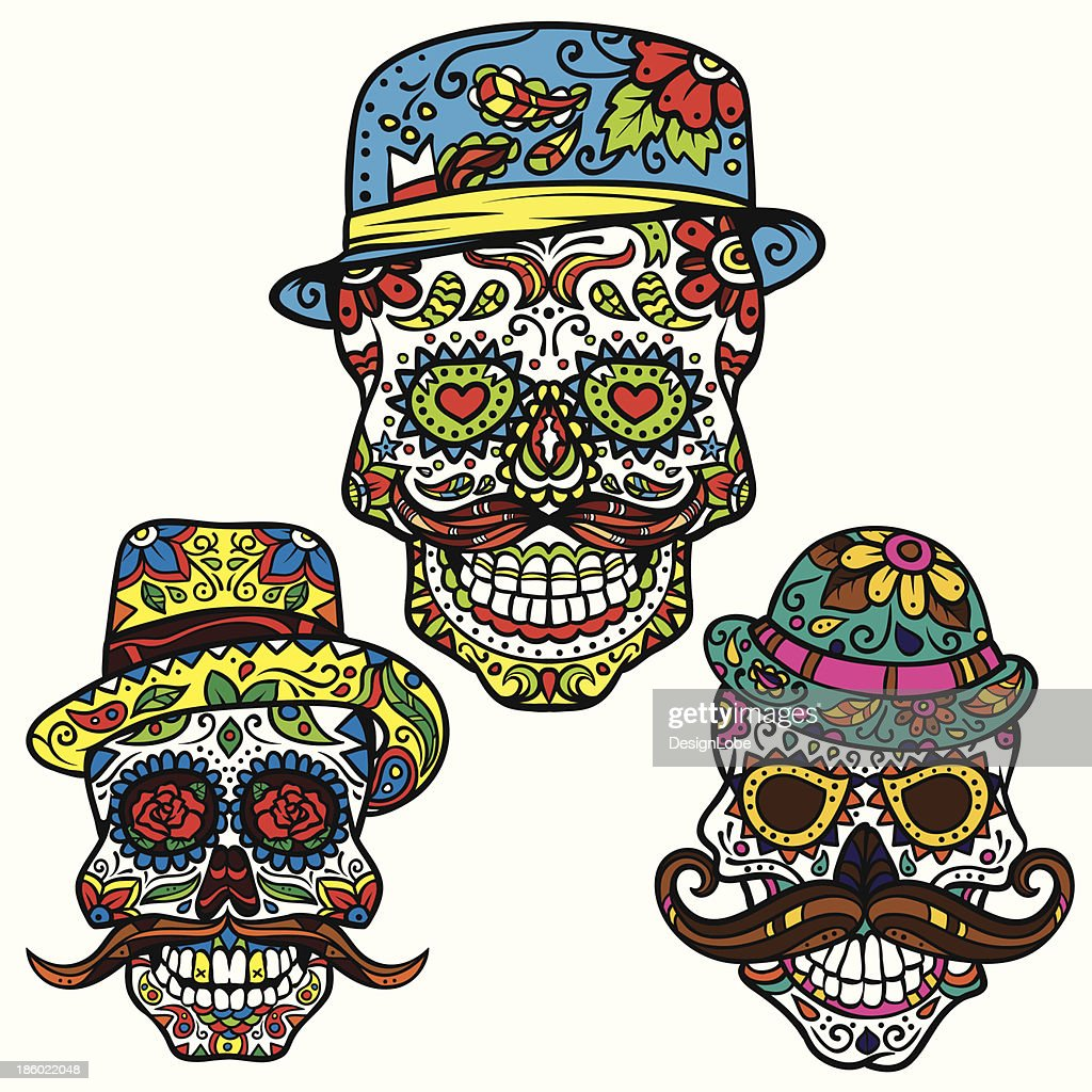 Day of the dead vector set - Hipster Sugar Skulls
