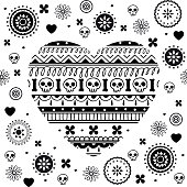 Day of the dearth seamless pattern. Dia de muertos elements heart