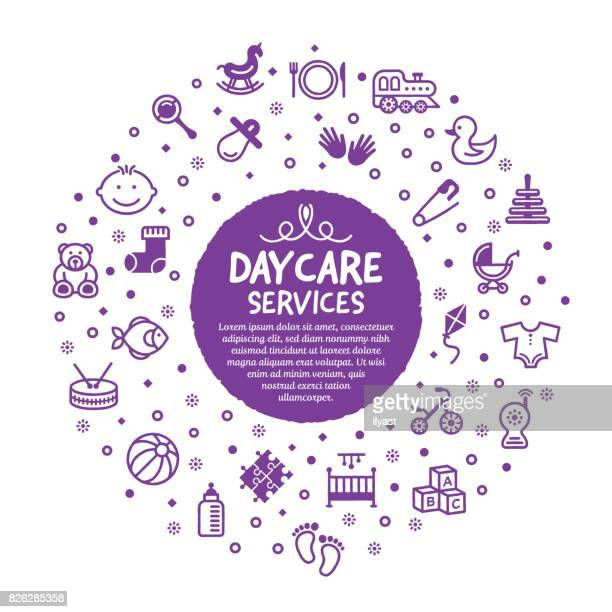daycare services poster - day stock illustrations