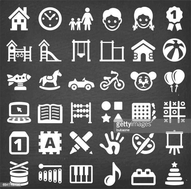 daycare  vector icon set on chalkboard - sports hall stock illustrations