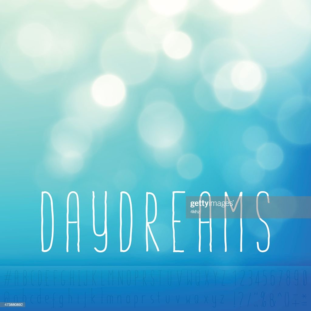 Daydreams Stock Vector Background Word Blue Sky Text Alphabet : stock illustration