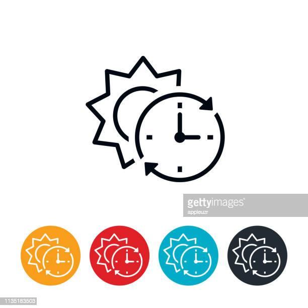 daylight saving time start icon - daylight saving time stock illustrations