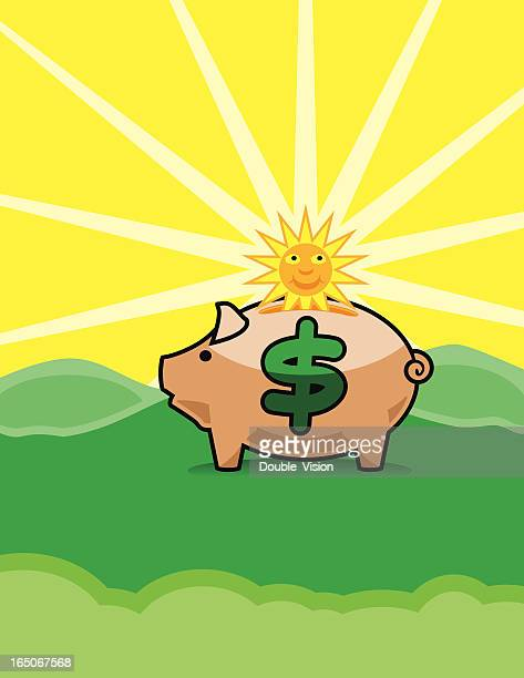 Daylight Savings Time Vector: Sun Dropping into Piggy Bank
