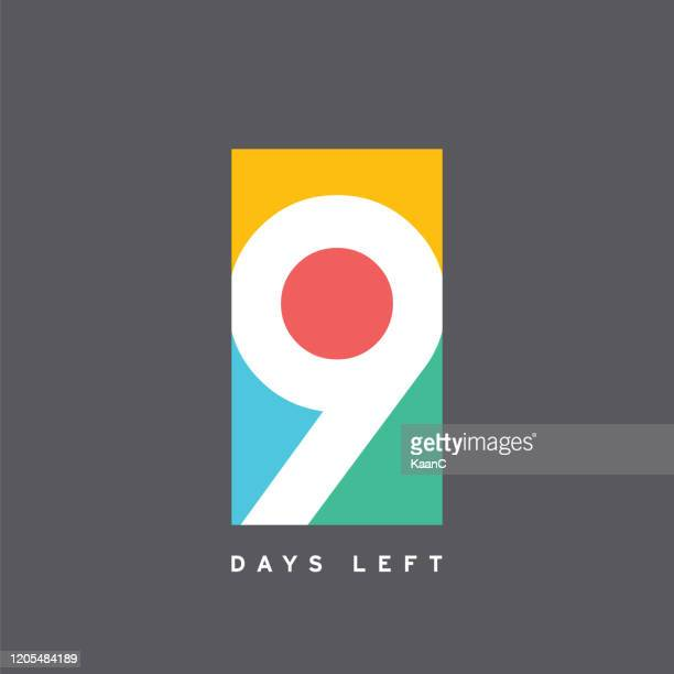 9 days left colorful template. vector illustration. stock illustration - number 9 stock illustrations
