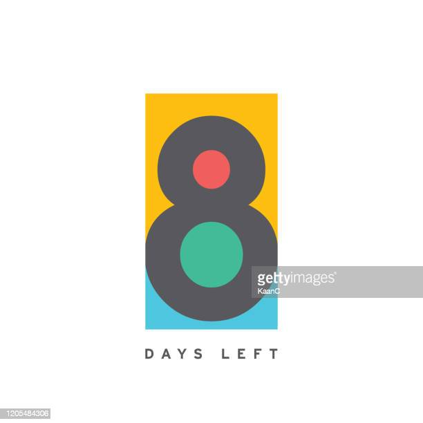 8 days left colorful template. vector illustration. stock illustration - number 8 stock illustrations