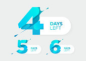 4, 5, 6 Days Left. Vector Futuristic Numbers. Sale Countdown Timer Bar. Date Badge for Promotion, Final Sale, Landing Page.