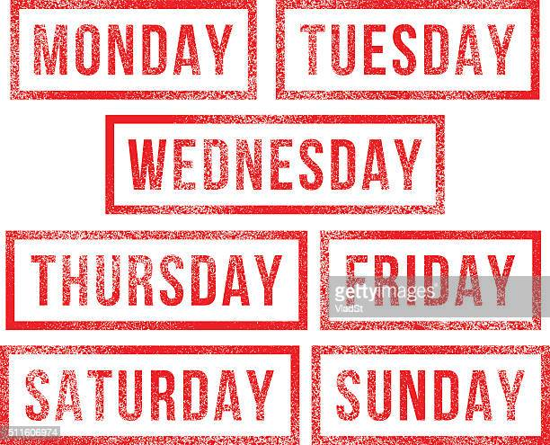 Days of the week rubber stamps