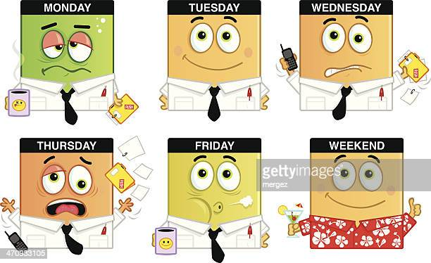 days of the week - monday stock illustrations