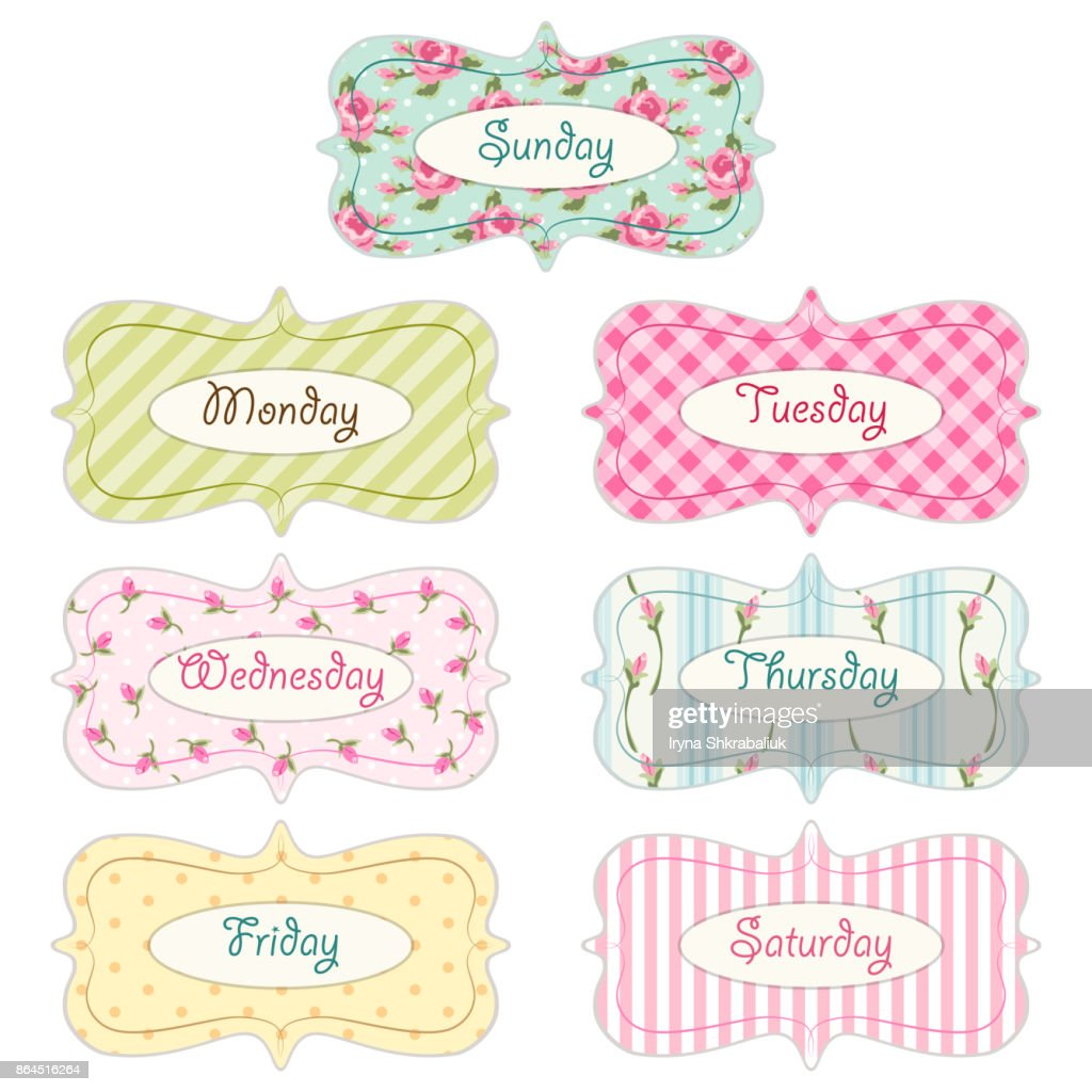 Days of week banners as retro festive frames in shabby chic style