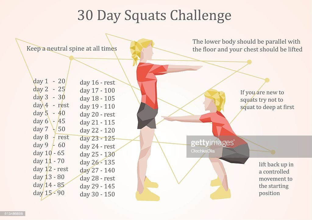 30 days squats challenge illustration