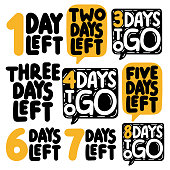 1,2,3,4,5,6,7,8 days to go. Vector illustrations on white background.
