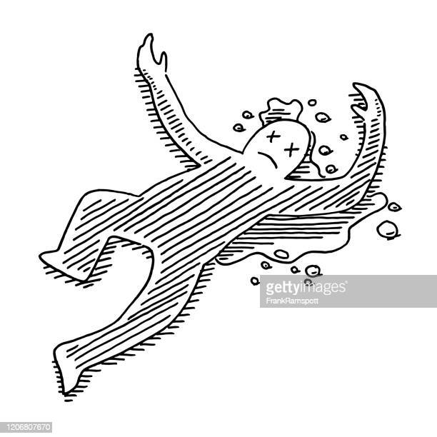 ilustrações de stock, clip art, desenhos animados e ícones de dead body cartoon human figure drawing - dead body