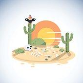dead dessert with human skeleton. cactus. vulture - vector illustration