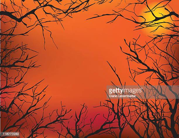 dead trees and the moon - halloween wallpaper stock illustrations