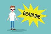 """Deadline conceptual illustration. Young nerd looking at the pop up """"deadline"""" sign"""