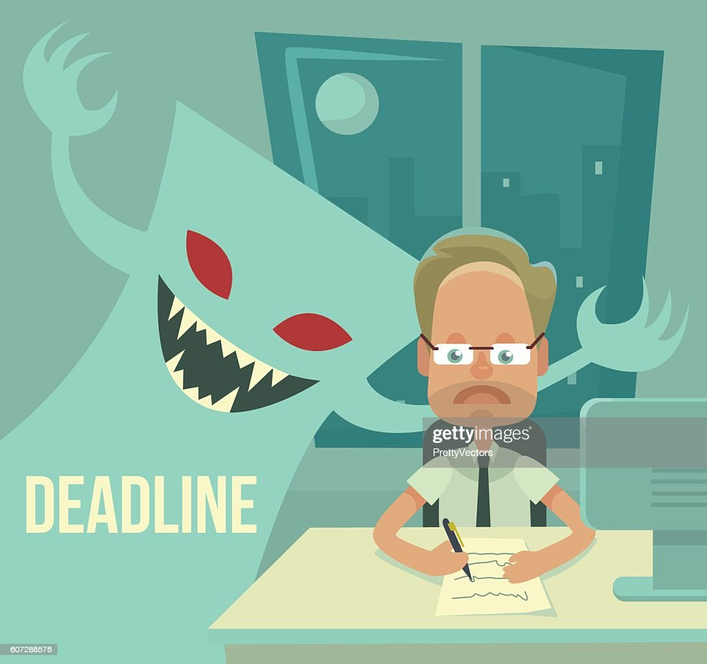 Deadline monster and office worker characters. Vector flat cartoon illustration