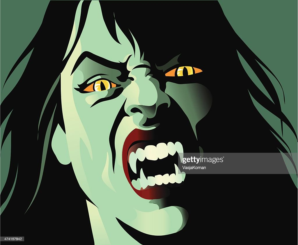 Deadly Female Vampire With Fangs - Close Up