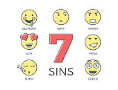 7 deadly sins represented by seven emoticon character expressions. Vector thin line icon illustrations. Colorful outline effect. Wrong negative behaviours according to religion.