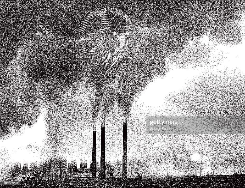 Deadly Smoke Pollution From Industrial Smoke Stacks : stock illustration