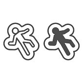 Deadman spot line and solid icon. Crime investigation scene, lying dead body on floor. Jurisprudence vector design concept, outline style pictogram on white background, use for web and app. Eps 10.