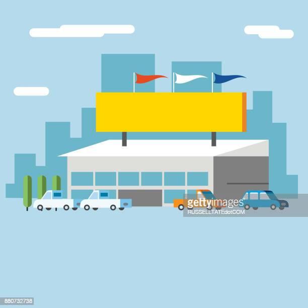 illustrations, cliparts, dessins animés et icônes de concessionnaire automobile - banderole signalisation