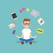 Dealing with stress. Young nerd meditating with closed eyes in lotus pose surrounded by floating gadgets. Yoga and meditation / flat editable vector illustration, clip art