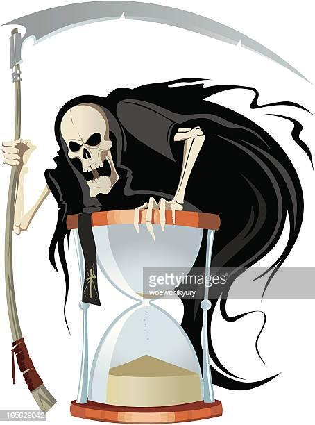 ilustraciones, imágenes clip art, dibujos animados e iconos de stock de la muerte y la arena vidrio - la muerte