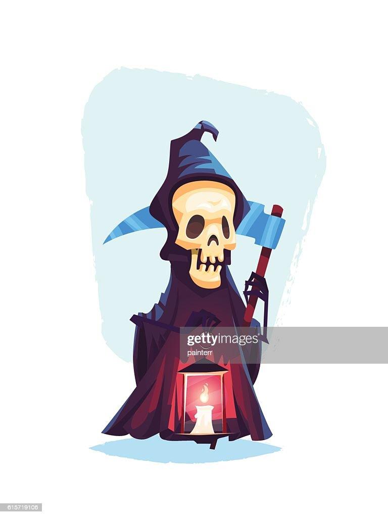 Death character Skeleton with a scythe Cartoon halloween vector illustration