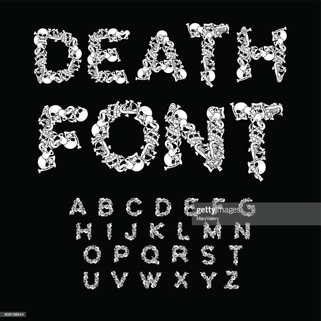 Death font. Bones ABC. Skeleton alphabet. Letters anatomy. Skull