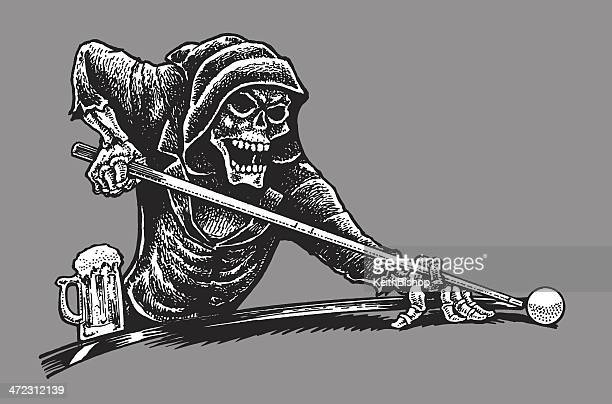 death or grim reaper playing pool - skeleton - pool ball stock illustrations, clip art, cartoons, & icons