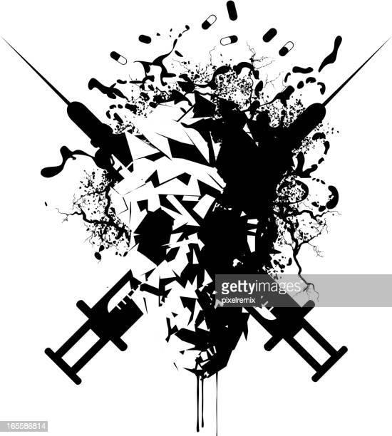 death skull - heroin stock illustrations, clip art, cartoons, & icons