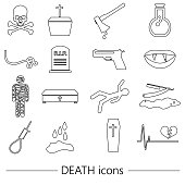 death theme set of vector black simple outline icons eps10