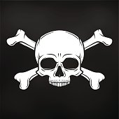 Death t-shirt design. Pirate insignia concept. Poison icon illustration