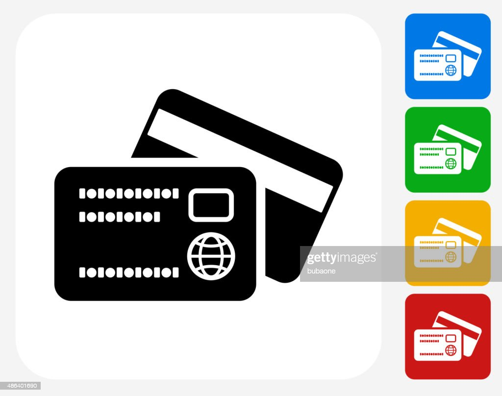 Debit and Credit Cards Icon Flat Graphic Design