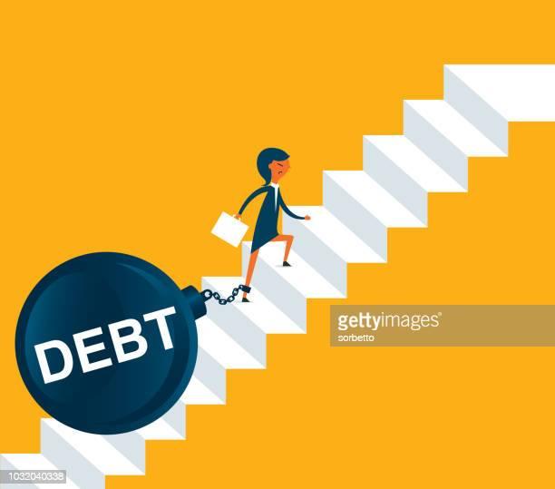 ilustraciones, imágenes clip art, dibujos animados e iconos de stock de deuda y el agotamiento - empresaria - bola de hierro y cadena
