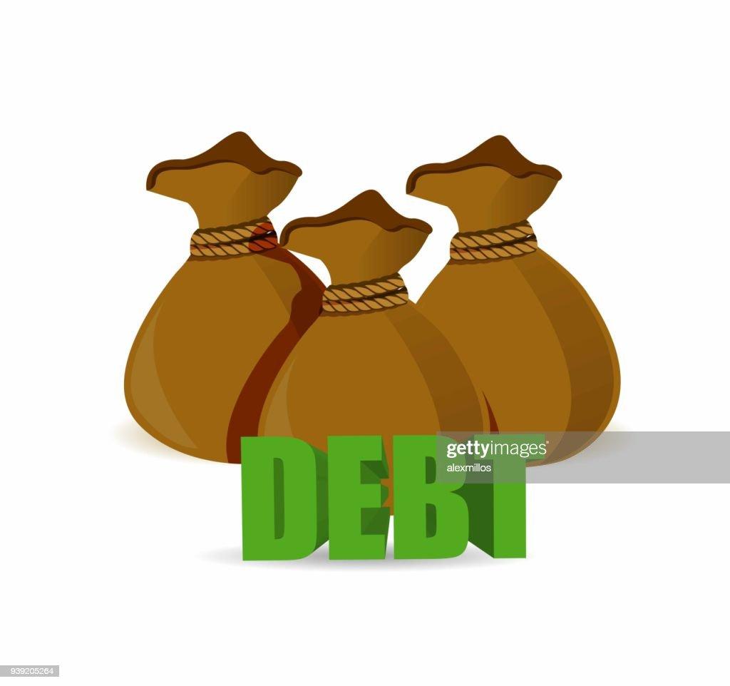 debt brown money bags sign. illustration design graphic